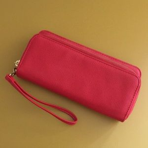 Red pleather clutch